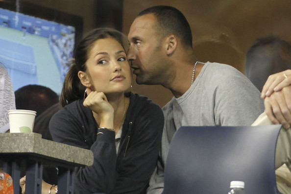 Derek Jeter New York Yankees star Derek Jeter and his girlfriend, actress Minka Kelly, watch James Blake USA being beaten by Novak Djokovic SRB in 3 sets at the US Open 2010. The couple looked to be enjoying each other's company at the Billie Jean King Tennis Center in Queens, New York.
