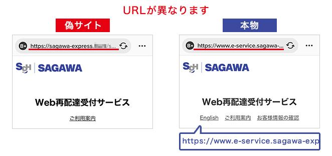 偽サイトとの区別方法1 URLが異なります