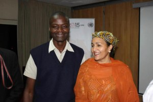 Special Adviser on Post-2015 Development, Amina J. Mohammed talks with a Willice Onyango, The International Youth Council Kenya.