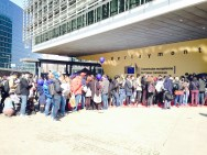 Visitors line up outside the Berlaymont Building