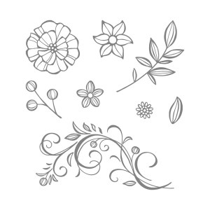 Falling Flowers Clear-Mount Stamp Set