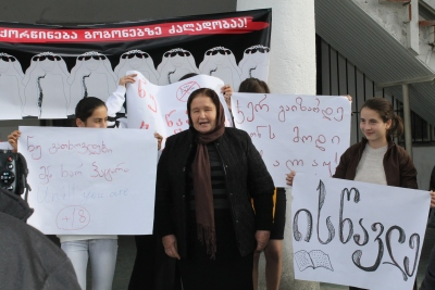 A rally against early marriage. Photo: Kakheti Regional Development Foundation