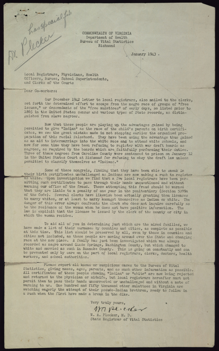 Images Of Walter Plecker Letter To Local Officials