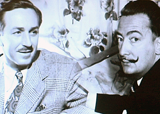 Walt Disney and Salvador Dalí met during an Alfred Hitchcock's filming. Image: 3cat/24.cat