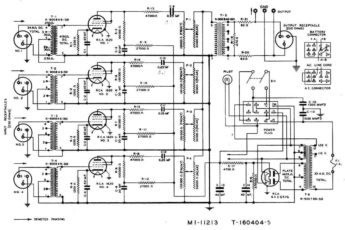 RCA OP-7 Portable Mixer Amp Schematic