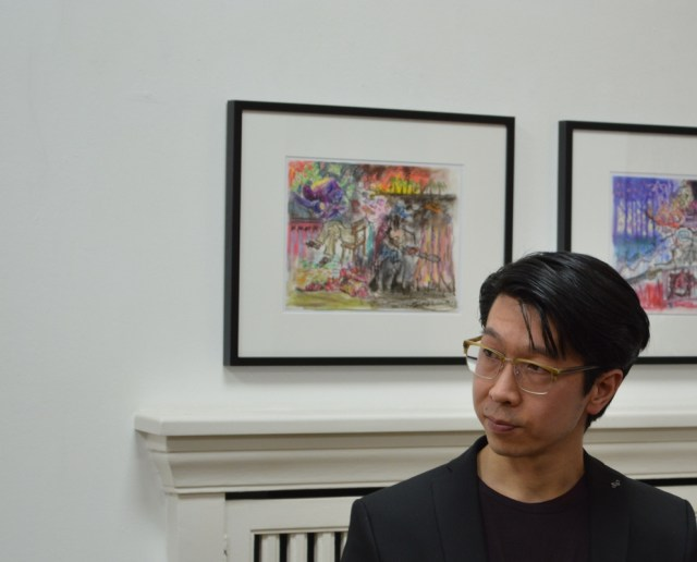 Ryo Kato at the opening of his exhibition: An Endless Story, Bengelsträter Gallery Düsseldorf (2017). Photograph: Moritz Niehues.