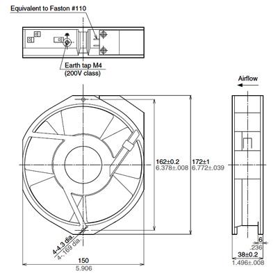 AC Fan Motor 150 x 172 x 38t(ASEN5) Dimensions