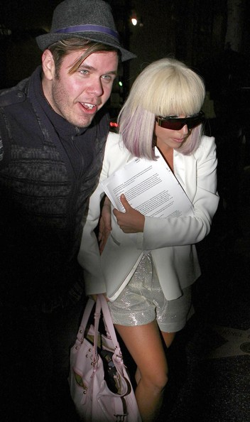 Singer Lady GaGa and Perez Hilton out at Katsuya for dinner in Hollywood.