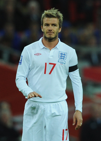 David Beckham of England gestures during the FIFA 2010 World Cup Group 6 Qualifying match between England and Ukraine at Wembley Stadium on April 1, 2009 in London, England.  (Photo by Shaun Botterill/Getty Images) *** Local Caption *** David Beckham