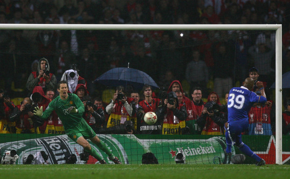 Edwin van der Sar Edwin Van der Sar of Manchester United saves the penalty attempt from Ncolas Anelka of Chelsea to win during the UEFA Champions League Final match between Manchester United and Chelsea at the Luzhniki Stadium on May 21, 2008 in Moscow, Russia.