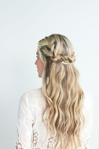 Low Braided Crown With Loose Beach Waves - The Cutest ...