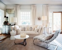 Modern White Living Room With Curtains - Home Design Ideas