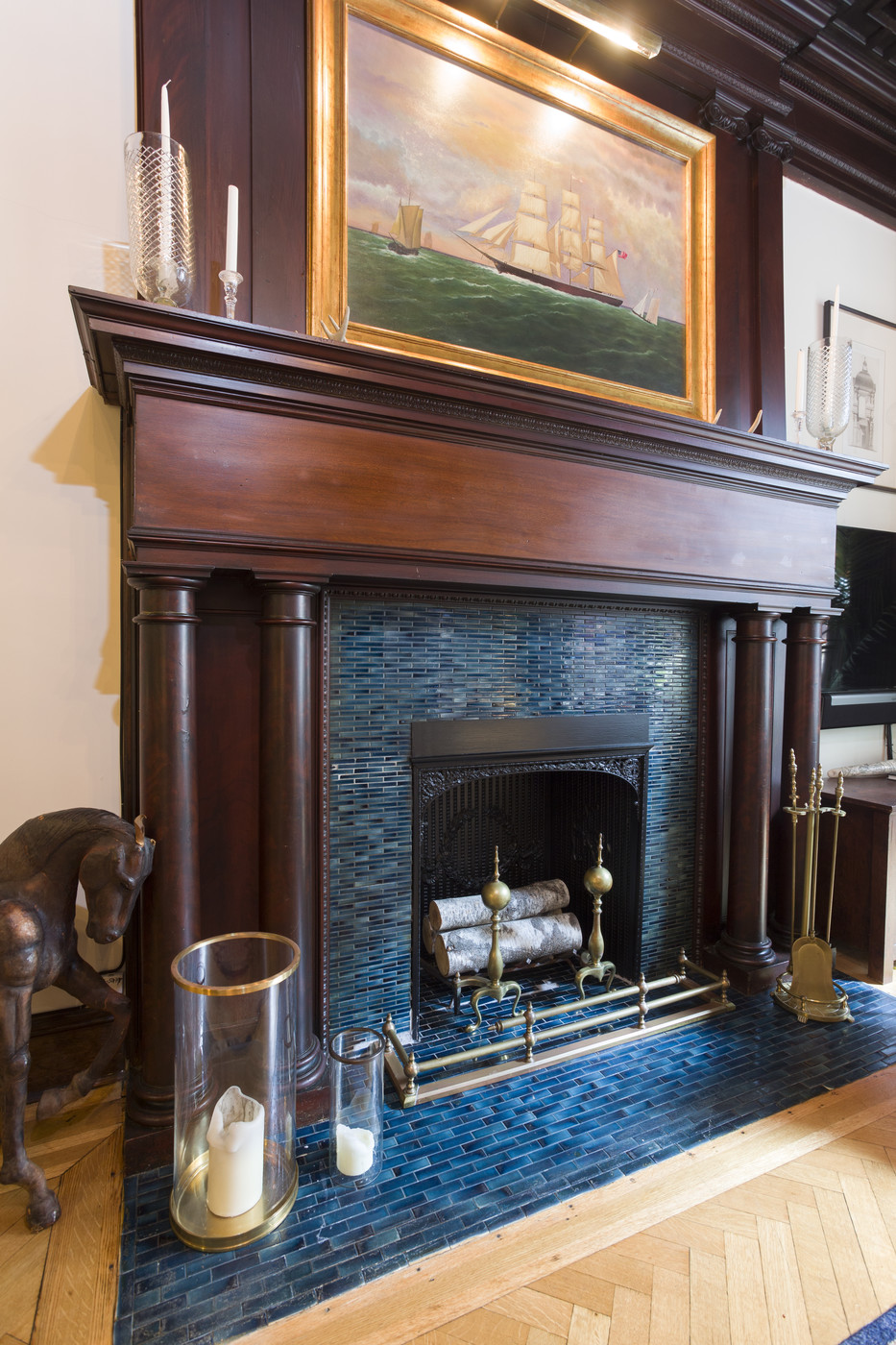 Blue Fireplace Photos Design Ideas Remodel And Decor