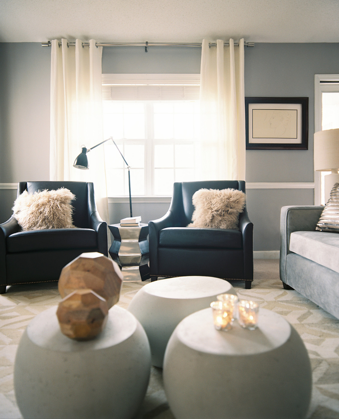 curtains to go with black leather sofa how install sectional clips gray living room photos 244 of 283