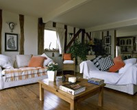 Orange-White Country Living Room - Living Room Design ...
