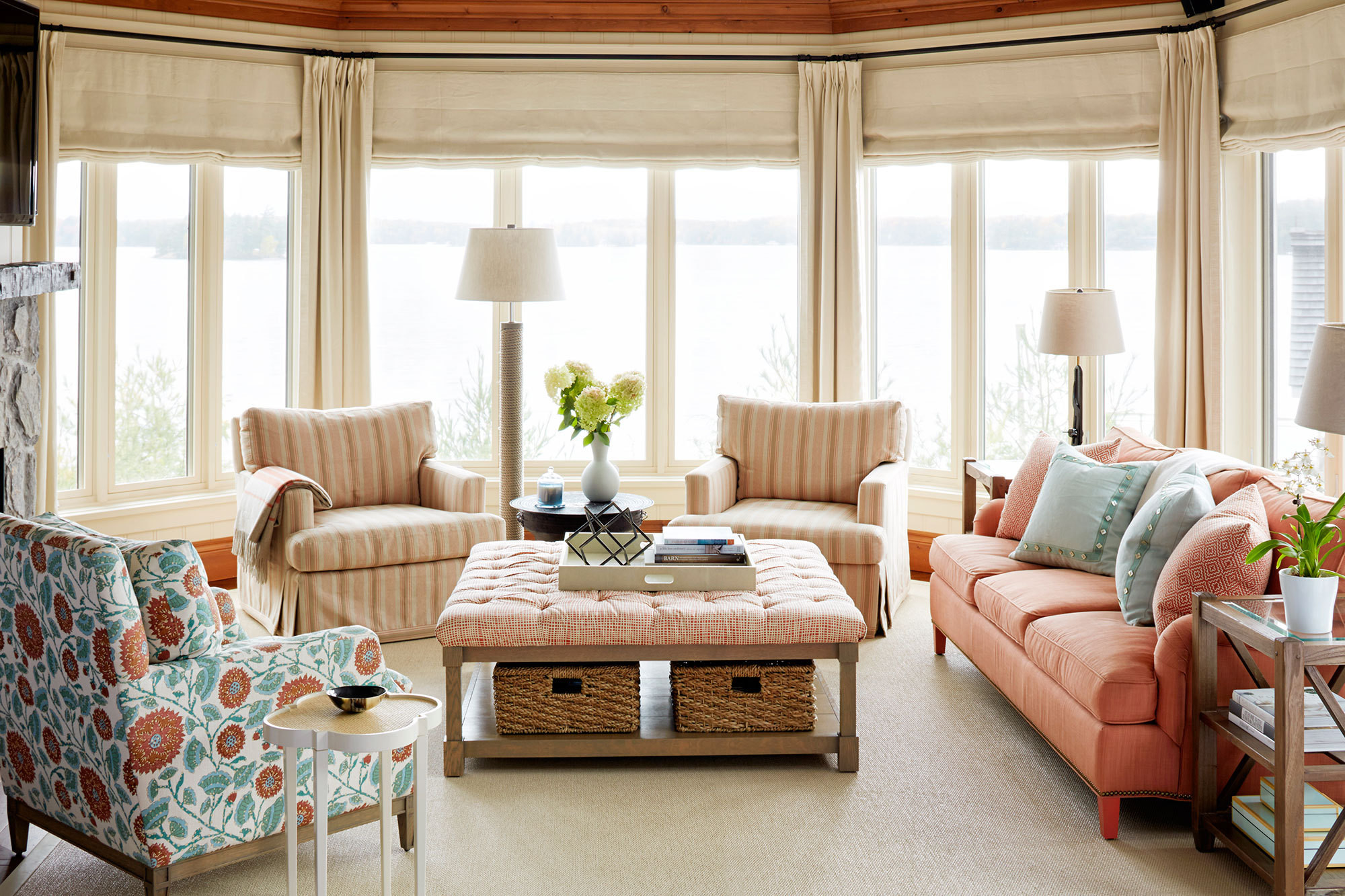 lake house living room ideas interior paint color schemes a sophisticated with subtle palette home tour lonny in the family overlooking joseph upholstered furnishings and understated nbsp hues create
