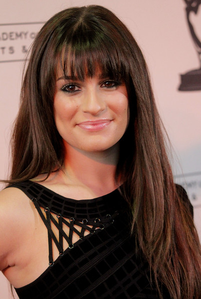 Lea Michele Long Straight Cut With Bangs Long Straight