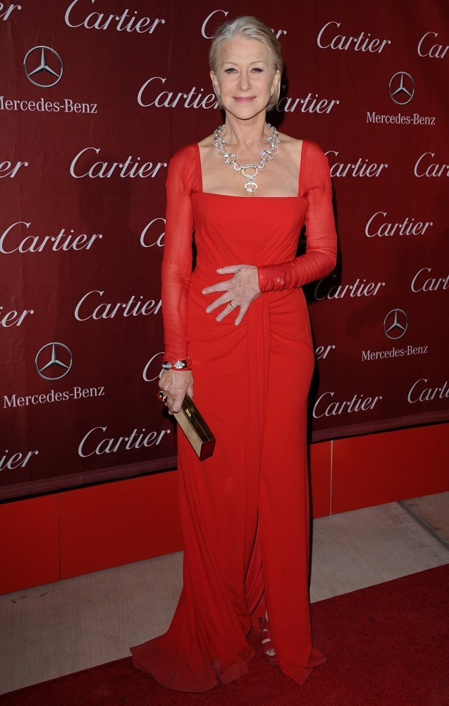 Helen Mirren in a red Escada gown