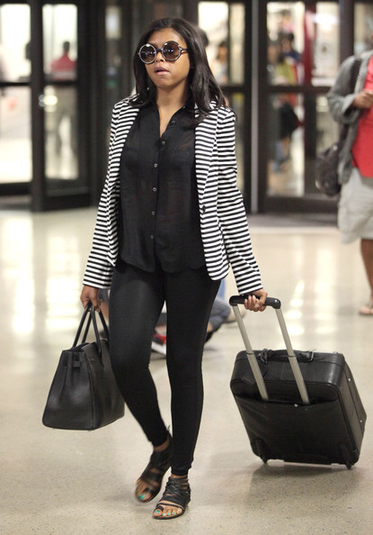 Taraji P. Henson Arriving On A Flight At LAX