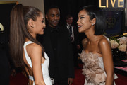 (L-R) Recording Artist Ariana Grande, rapper Big Sean and recording artist Jhene Aiko attend The 57th Annual GRAMMY Awards at the STAPLES Center on February 8, 2015 in Los Angeles, California.