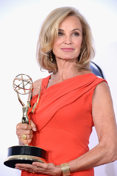 "Actress Jessica Lange, winner Outstanding Supporting Actress in a Miniseries or a Movie award for ""American Horror Story,"" poses in the press room during the 64th Annual Primetime Emmy Awards at Nokia Theatre L.A. Live on September 23, 2012 in Los Angeles, California."