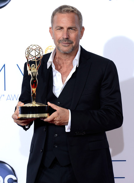 Kevin Costner, winner Outstanding Lead Actor in a Miniseries or a Movie poses in the press room during the 64th Annual Primetime Emmy Awards at Nokia Theatre L.A. Live on September 23, 2012 in Los Angeles, California.