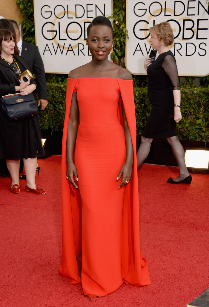 lupita nyongo'o red dress 2014