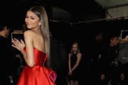 Zendaya Coleman poses backstage at the Go Red For Women Red Dress Collection 2015 presented by Macy's fashion show during Mercedes-Benz Fashion Week Fall 2015 at The Theatre at Lincoln Center on February 12, 2015 in New York City.