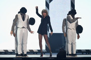 Taylor Swift on stage during the BRIT Awards 2015 at The O2 Arena on February 25, 2015 in London, England.