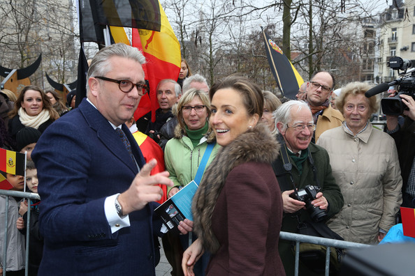 Prince Laurent and Princess Claire of Belgium greet the crowd at Cathedrale des Saints-Michel-et-Gudule on November 15, 2012 in Brussels, Belgium.