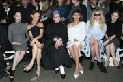 (L-R) Coco Rocha, Juliette Lewis, Kelly Osbourne, Zendaya, Kesha, and Rachel Brosnahan attend the Christian Siriano Fashion Show at ArtBeam on February 14, 2015 in New York City.