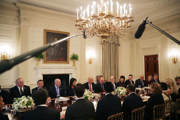 Hasil gambar untuk President Trump hosts a working lunch with United Nations Security Council Ambassadors.
