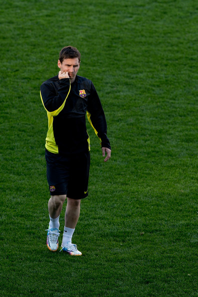 Lionel Messi of FC Barcelona bites his nails during the training session the day before the UEFA Champions League Quarter-final match between Atletico de Madrid and FC Barcelona at Vicente Calderon Stadium on April 8, 2014 in Madrid, Spain.