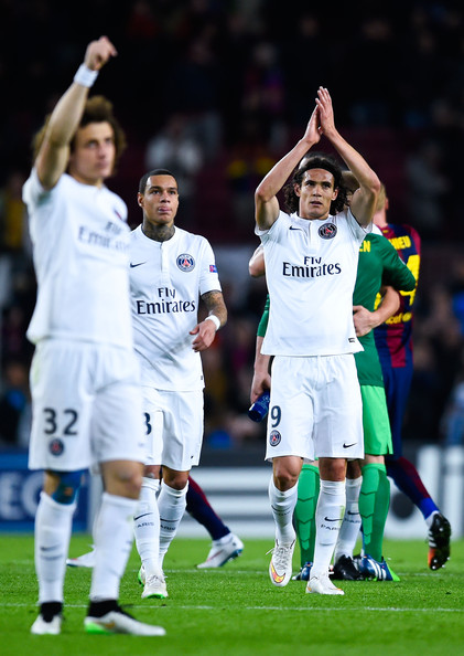 Edinson Cavani of Paris Saint-Germain FC acknowledges his supporters at the end of the UEFA Champions League group F match between FC Barcelona and Paris Saint-Germanin FC at Camp Nou Stadium on December 10, 2014 in Barcelona, Spain.