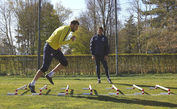 Samir Handanovic of FC Internazionale Milano trains during an FC Internazionale training session at the club's training ground on April 7, 2015 in Appiano Gentile Como, Italy.