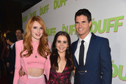 "Actors Bella Thorne, Mae Whitman and Robbie Amell attend a Fan Screening of CBS Films' ""The Duff"" at the TCL Chinese 6 Theatres on February 12, 2015 in Hollywood, California."