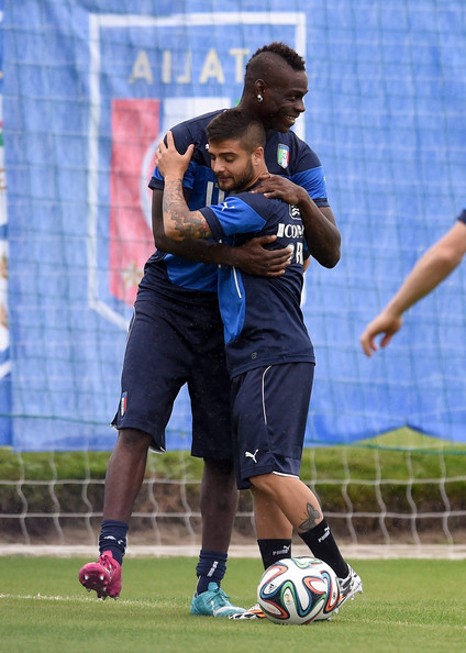 Mario Balotelli and Lorenzo Insigne (R) of Italy during a training session on June 10, 2014 in Rio de Janeiro, Brazil.