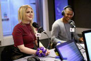 (EXCLUSIVE COVERAGE)  KISS Presenter Rickie Haywood Williams laughs as Meghan Trainor visits the Kiss FM Studio's on January 23, 2015 in London, England.