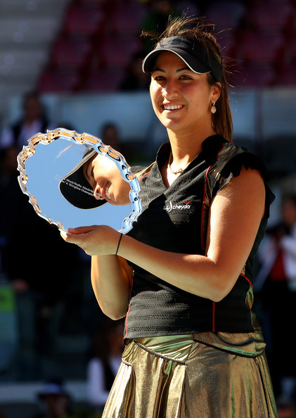 Aravane Rezai Aravane Rezai of France holds aloft the winners torphy after her straight sets victory against Venus Williams of the USA in the womens final match during the Mutua Madrilena Madrid Open tennis tournament at the Caja Magica on May 16, 2010 in Madrid, Spain.