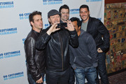 Joey McIntyre, Donnie Wahlberg, Jordan Knight, Danny Wood and Jonathan Knight of the band New Kids On The Block pose before their performance at Gramercy Theatre on February 15, 2015 in New York City.
