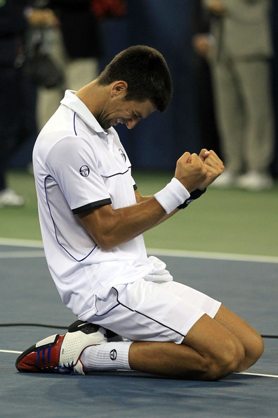 Novak Djokovic Novak Djokovic of Serbia reacts after he won match point against Rafael Nadal of Spain during the Men's Final on Day Fifteen of the 2011 US Open at the USTA Billie Jean King National Tennis Center on September 12, 2011 in the Flushing neighborhood of the Queens borough of New York City.