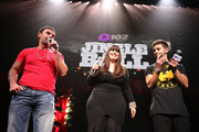 (L-R) Q102 radio personalities Rocco, Nik the Web Chick and rapper Jake Miller speak onstage at the Q102's Jingle Ball 2014 at Wells Fargo Center on December 10, 2014 in Philadelphia, Pennsylvani