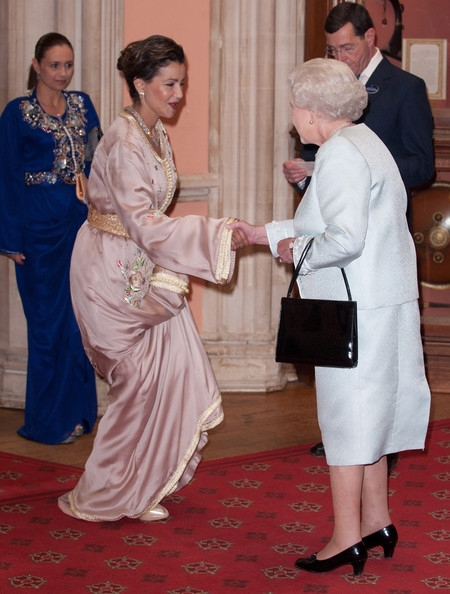 Princess Lalla Meryem of Morocco  is greeted by Queen Elizabeth II as he arrives at a lunch for Sovereign Monarch's held in honour of Queen Elizabeth II's Diamond Jubilee, at Windsor Castle, on May 18, 2012 in Windsor, England.