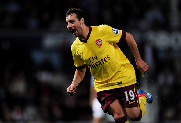 Santi Cazorla Santi Cazorla of Arsenal celebrates after scoring his team's third goal during the Barclays Premier League match between West Ham United and Arsenal at the Boleyn Ground on October 6, 2012 in London, England.