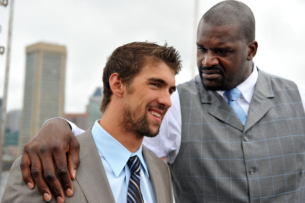 Michael Phelps and Shaquille ONeal on Shaq vs. -- Image courtesy of Zimbio.com