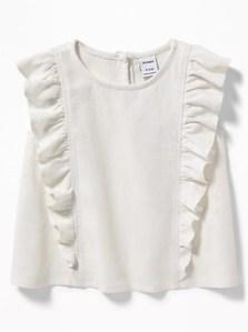 Sleeveless Ruffled Linen-Blend Top for Baby