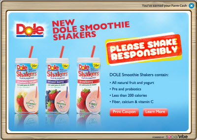1  Sponsored Ad: 2 FREE Farm Cash from Dole!