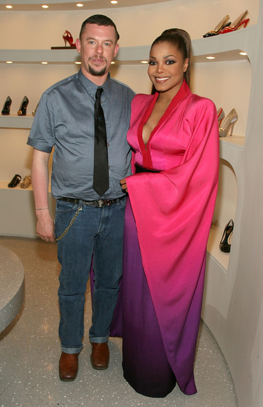 Alexander McQueen Designer Alexander McQueen (L) and singer Janet Jackson pose during the Alexander McQueen store opening held at the new Alexander McQueen store on May 13, 2008 in Los Angeles, California.