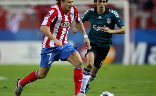Diego Forlan In Atletico Madrid V Liverpool Uefa