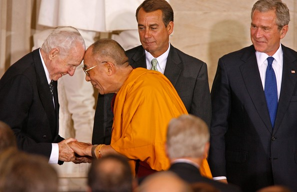 Rep. Tom Lantos (D-CA) (L) touches foreheads with the Dalai Lama as ...